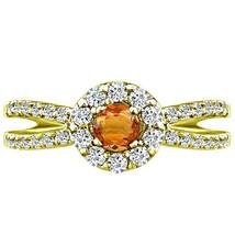 Round Citrine & Diamond Split Shank Halo Engagement Ring 10 Yellow Gold ... - £466.33 GBP