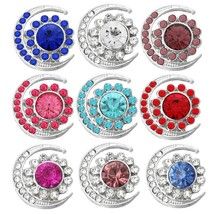 6Pcs/lot Crystal Rhinestone Snap Moon Sun Flowers Metal Snaps Button For... - $15.35