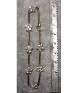 """Yellow Gold Plated Sterling Silver NWOT Cubic Zirconia Flower Bracelet 7"""" - $11.88"""
