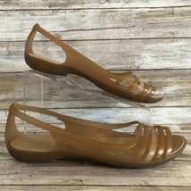 Crocs Casual Sandal Gold Metallic Rubber Open Toe Slip On Lightweight Women 11M - $32.99