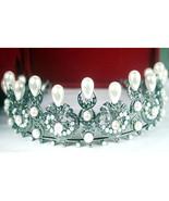 Royal Victorian Insp 5.22Ct Rose Cut Diamond 925 Silver Wedding Tiara Crown - $1,248.00