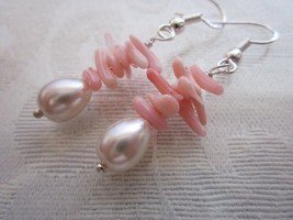 Handmade Pink Coral Chip Stack and Beige Pearl Silver Tone Earrings - $5.70