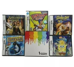 Nintendo DS 5 Game Lot With i-con Magnetic Game Holder Scooby Spongebob Baseball - $38.79