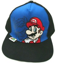 Mario Brothers Embroirdered Mario Patch Blue/Black Snapback baseball Cap... - $18.80