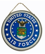 "United States Air Force Military Logo Glass & Metal Wall Plaque Sign  7"" vintage - $28.08"