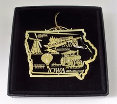 Iowa Brass Ornament State Landmarks Black Leatherette Gift Box - $14.95