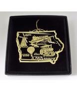 Iowa Brass Ornament State Landmarks Black Leatherette Gift Box - $14.95