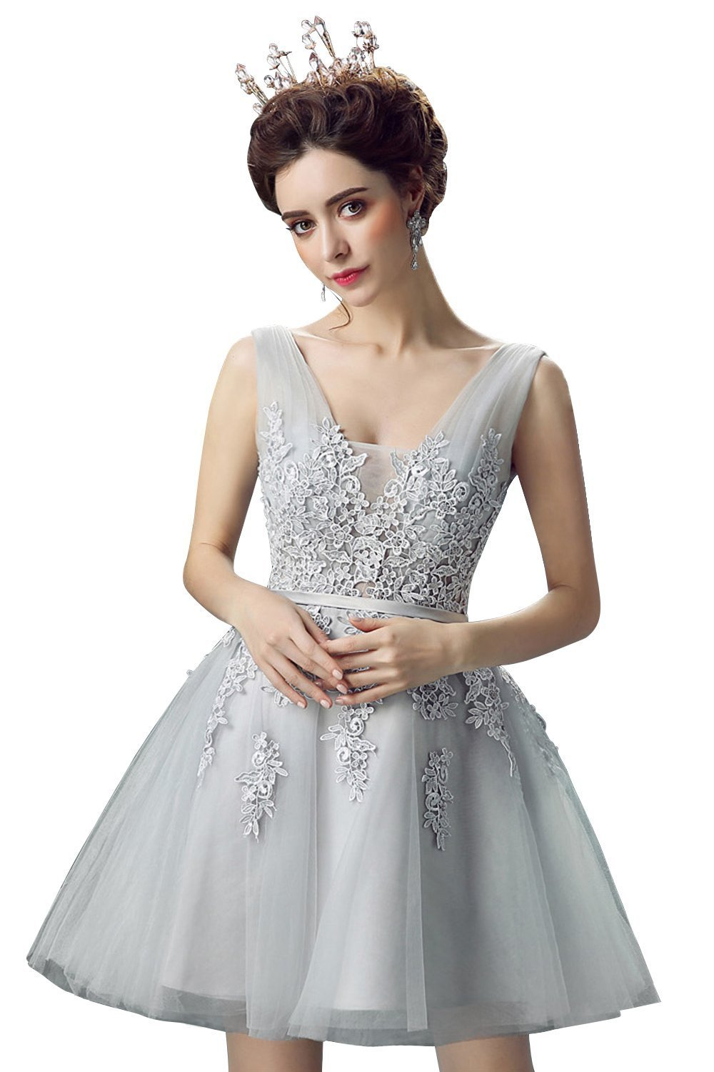 Women's Tulle Lace Applique Junior's Formal Cocktail Gowns Homecoming Dresses