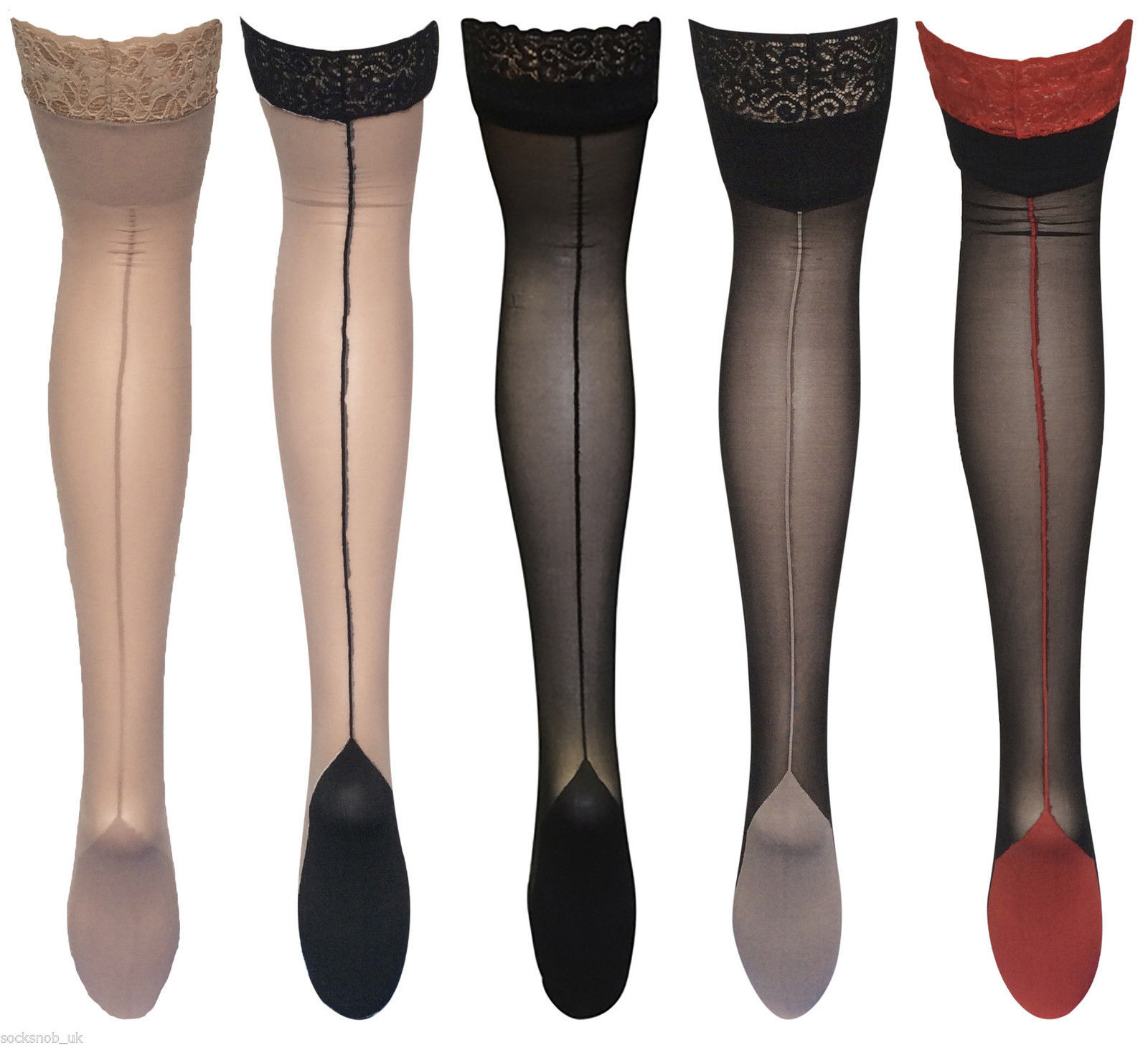 Womens's Quality seamed Cuban heel Deep Lace top Hold ups, One size 8-14,36-42