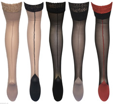 Womens's Quality seamed Cuban heel Deep Lace top Hold ups, One size 8-14... - $8.63