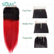 Sexay Ombre Red Human hair Lace Closures Pre colored Non Remy Hair 1B/Re... - $56.60