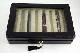 PEN CASE DISPLAY BOX CHEST IN GENUINE LEATHER glass..8 PEN CASE - $77.95