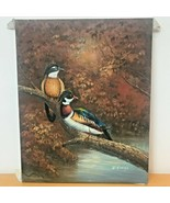 Wood Duck Male and Female Original Oil Painting Art signed D. Higgins 16x20 - $29.95