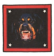 NWT Givenchy Paris Rottweiler Print Black Red Silk Blend Scarf New  $650  - $375.00