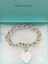 Tiffany & Co. 925 Heart Charm Bracelet Chain Sterling Silver Authentic - $150.00