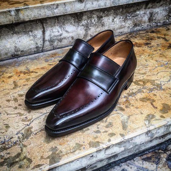 Handmade Maroon Black Moccasin Loafer Slip Ons Vintage Genuine Men Leather Shoes