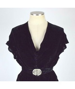Vtg 20s Dress 3 Pc Black Velvet Evening Gown Maxi + Jacket xxs Belted 25... - $346.50