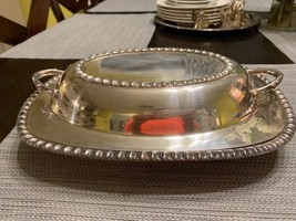 WM Rogers Silver Plate Covered Vegetable Serving Dish Leaf Edge Castle P... - $36.47