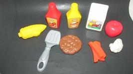 Little Tikes play food lot milk carrots corn on cob burger grill spatula ketchup - $17.81