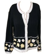 Christopher & Banks Hand Embroidered Floral Cardigan Navy Sz Small - $35.99