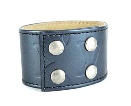 Auth Louis Vuitton Monogram Mat 2002 Blue Nuit Vernis Leather Bangle Bracelet - $197.01