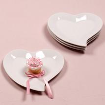 White Heart Plates Wedding Reception Decoration Centerpiece Gift - Set of 4 - $26.71