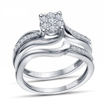 14K White Gp on 925 Silver Round Cut Sim Diamond Promise Wedding Bridal ... - $51.99