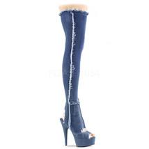 """PLEASER 6"""" Heel Denim Blue Stretch Platform Open Toe Heel Thigh High Women Boots - $99.95"""
