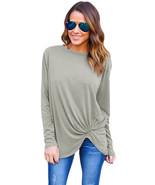 Fashion Girls Gray Long Sleeves Drape Top - $18.29