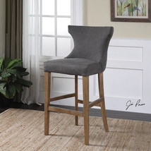 NEW SOLID BIRCH WOOD STONEWASHED GRAY LINEN CANVAS WING BACK BAR PUB STOOL - $503.80