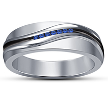 Men's Band Wedding Ring Round Cut Blue Sapphire 14k White Gold Plated 92... - $83.57