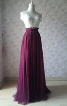 BURGUNDY Wedding Full Long Tulle Skirt Burgundy Wine Red Bridesmaid Outfit Plus image 5