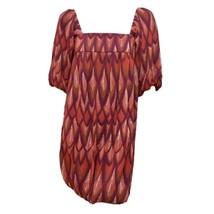 Womens Red Purple Print Square Neck Short Sleeve Bubble Mini Shift Dress S - $7.92