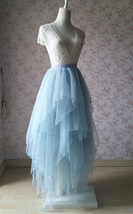 Grace High Low Tiered Tulle Skirt Wedding Bridal Tier Tulle Outfit, Dusty Blue image 3