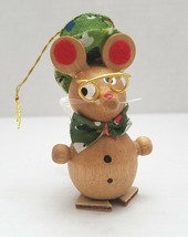 "Wooden Mouse in Hat & Glasses Christmas Tree Ornament 3"" Vintage - $9.95"