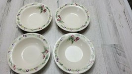 4 Pfaltzgraff Jamberry Pat Farrell Design Rimmed Soup Cereal Bowls USA - $19.39