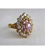 Ring Fancy Pink Cocktail Cluster Ring 925 CZ Crystal Dinner Ring Pink Go... - $49.00