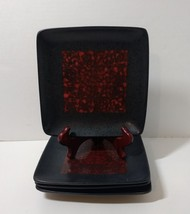 """4 Salad Plates American Atelier Yardley Red 8"""" Square Stoneware Flawed - $19.34"""