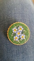 Vintage Forget Me Not Floral  Mosaic Pin Made In Italy - £18.89 GBP