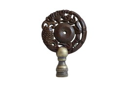 """Beautiful Vintage Style Hand Carved Brown Bat and Fish Lamp Finial 3"""" - $34.64"""