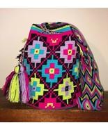 Authentic 100% Wayuu Mochila Colombian Bag Large Size Gorgeous Colors Blend - £65.77 GBP