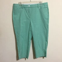 Talbots Perfect Skimmer Sz 12P Green Gingham Flat Front Capri Pants - $24.74