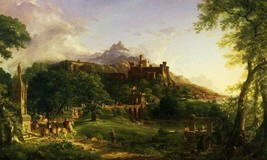 The Departure Medieval Warriors Leaving Castle Painting By Thomas Cole Repro - $10.96+