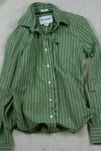 Abercrombie Muscle Long Sleeve Green Striped Button Down Collard Shirt S... - $9.29
