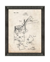 Toy Excavator Patent Print Old Look with Black Wood Frame - $24.95+