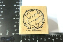Volley Ball Rubber Stamp Stampin Up 2004 Woodcut Style Primitive Girls Sports - $3.82