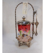 Antique Rubina Glass Handpainted Victorian Pickle Castor with Tongs Tuft... - $787.05