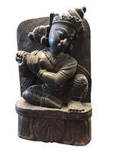 Mogul Interior Vintage Krishna Statue Carved Wood Rustic Tribal Krishna ... - $132.30