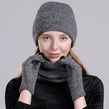 3 Pieces Set For Women Hat Scarf Gloves Set for Winter Warm Soft from Co... - $20.89