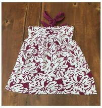 Womens So Small Plum Purple White Floral Strapless Top Halter S - $3.22